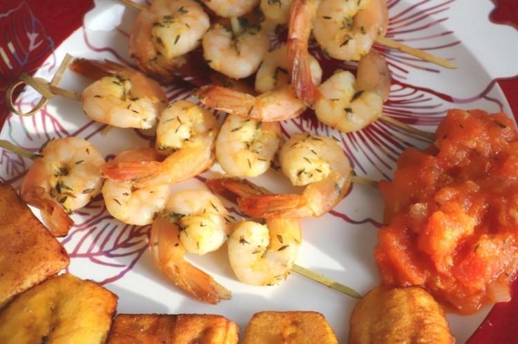 Brochettes de crevettes thym et orange (10)