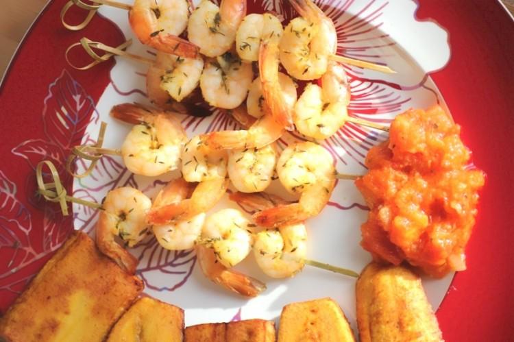 Brochettes de crevettes thym et orange (8)