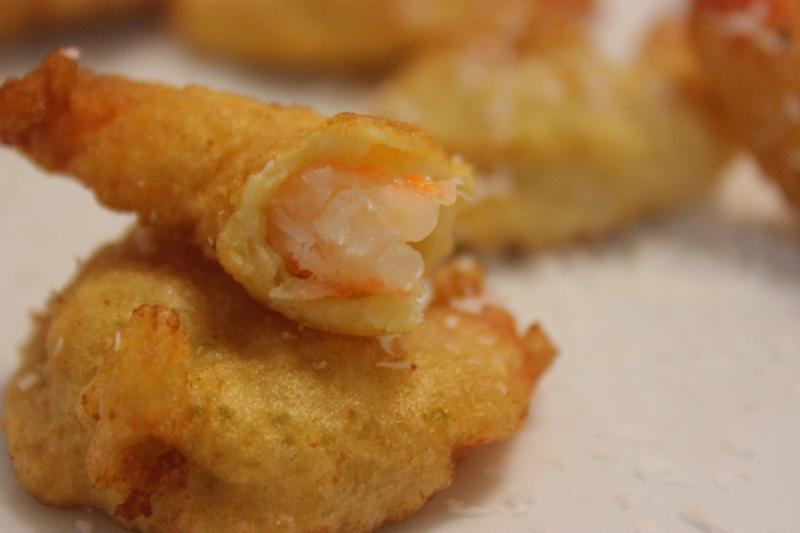 tempura de crevette au gingembre et citron vert