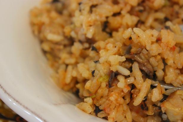 riz sauté au poulet et champignons