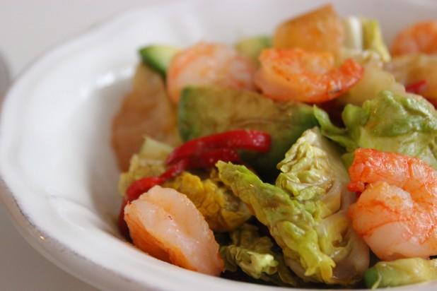 salade exotique fruits et crevettes