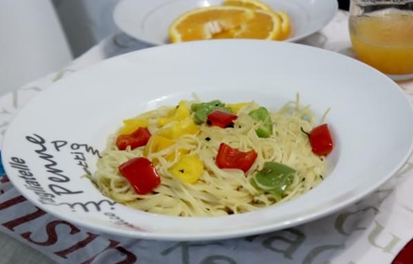 spaghettis sautés au poivrons